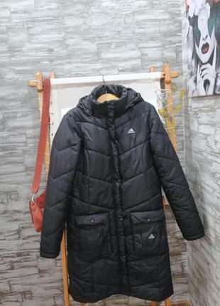Тёплое чёрное пальто adidas