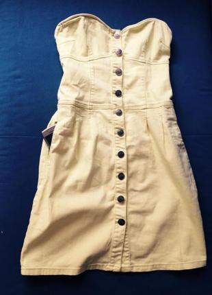 Кислотное джинсовое платье- футляр