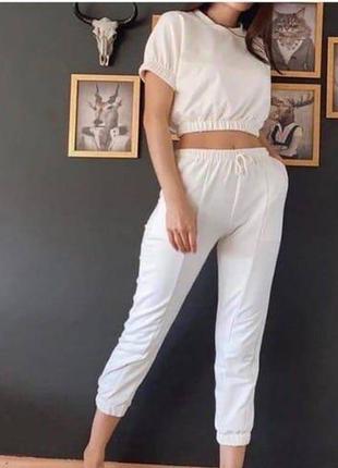 Летний женский костюм штаны футболка набор прогулочный распродажа