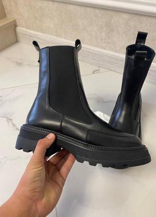 Ботинки натуральная кожа чёрные женские челси высокие