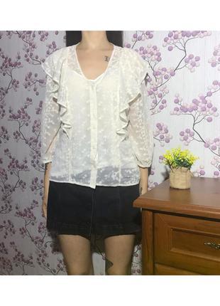 Обалденная ажурная блуза с рюшами с майкой. р. 18 46 xxxl eur 54