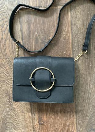 Чёрная сумка клатч кроссбоди через плечо нубук