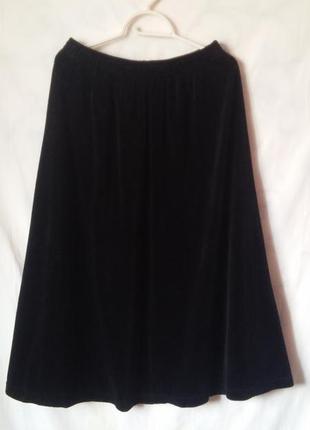 Трендовая натуральная велюровая юбка 50-54р.