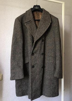 Шерстяное винтажное меланжевое пальто с большими лацканами классическое двубортное англия винтаж