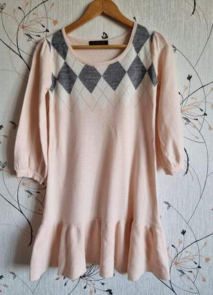 Теплое трикотажное платье, вязаная розовая туника,