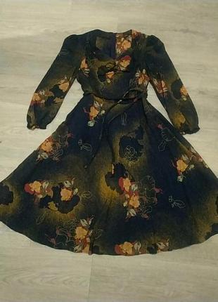 Шифоновое романтичное платье цветы  не зара