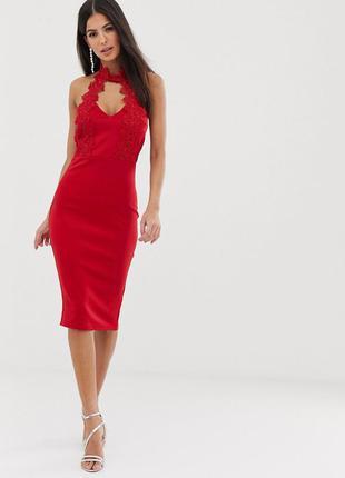 Ax paris платье красное по фигуре карандаш футляр с кружевом гипюром миди с чокером