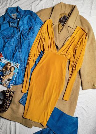 Pretty little thing платье оранжевое жёлтое золотое с длинным рукавом по фигуре карандаш футляр с вырезом