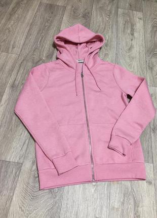 Кофта толстовка худи розового цвета на флисе с капюшоном с карманами на молнии с длинными рукавами тёплая
