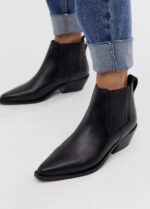 Ботинки казаки ботильоны кожа на низком asos mango h&m