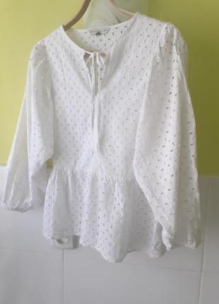 Белая рубашка блуза блузка прошва вышивка ришелье от f&f