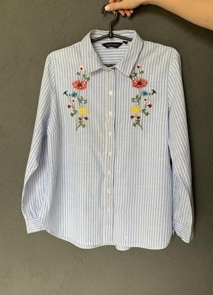 Модная блуза в полоску с вышивкой