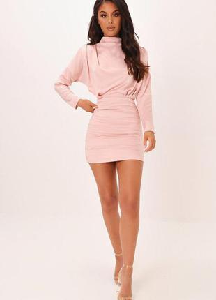 I saw it first платье розовое пудровое новое с длинным рукавом жатое под горло по фигуре карандаш футляр