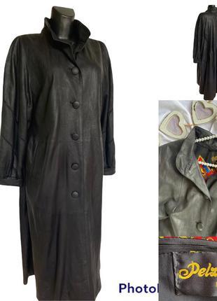 Фирменный стильный качественный винтажный натуральный кожаный плащ