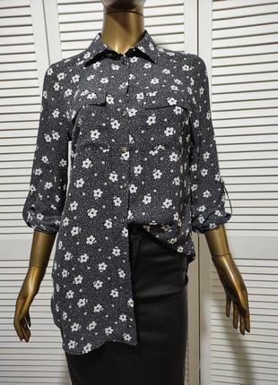 Блузка рубашка с цветочным принтом