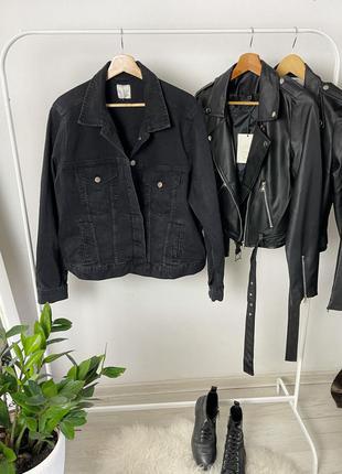 Базовая оверсайз прямого кроя джинсовая куртка джинсовка графитовая как zara mango pull&bear