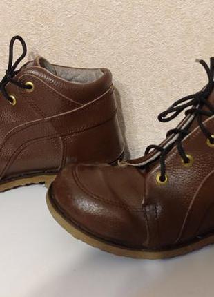 Кожаные ортопедический ботинки, супинатор, 22 см по стельке