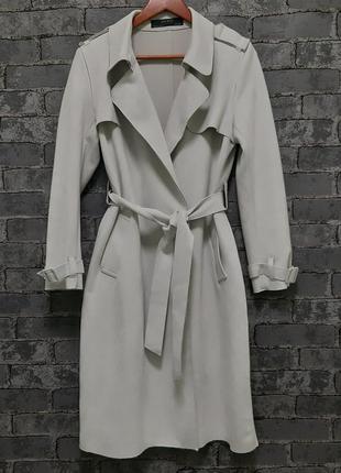 Супер стильный светло- серый плащ тренч пальто zara