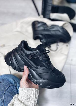 Кроссовки женские на платформе черные 7827 эко-замша эко-кожа кросівки жіночі чорні еко-замша