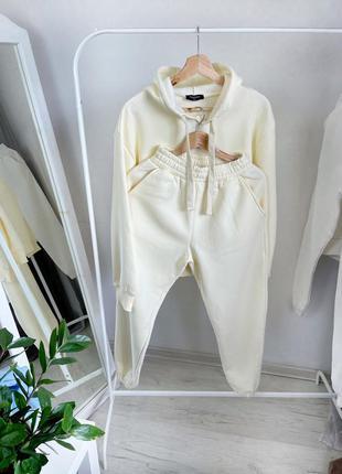 Спортивный костюм на флисе тёплый хлопок хлопковый джогеры худи оверсайз высокая посадка