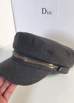 Серый кепи , кепи с молнией , фетровая кепка