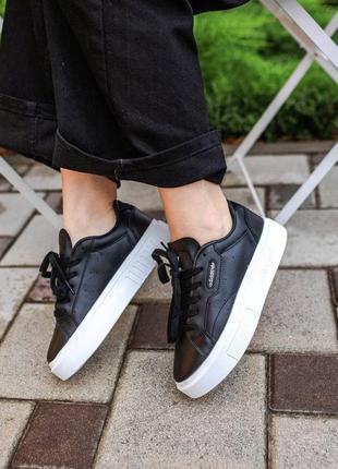 Осенние женские кожаные черные кроссовки adidas super sleek 🆕кеды адидас