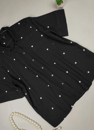 Блуза рубашка с коротким рукавом в горошек next uk 20/48/3xl
