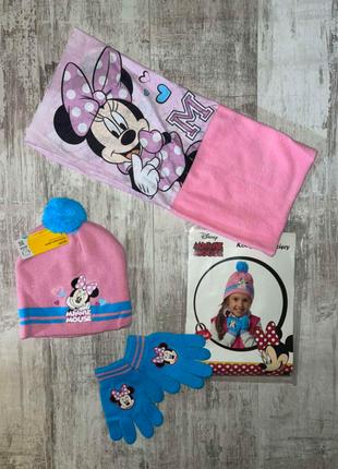 Комплект детский на девочку шапка+хомут+перчатки с минни от disney.