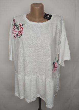 Блуза новая белая стильная с вышивкой uk 20/48/3xl
