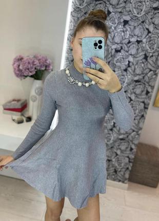 Вязаное платье рубчик клёш