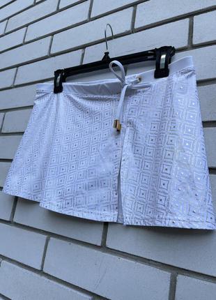 Белая пляжная мини юбка calvin klein