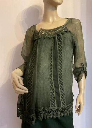 Бутиковая итальянская блузка/s- m/ шёлк- вискоза