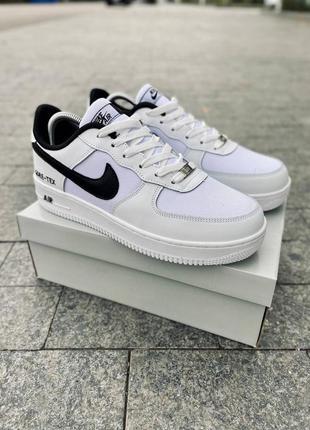 Кожаные белые кроссовки nike air force, мужские кеды, кели чоловічі кросівки