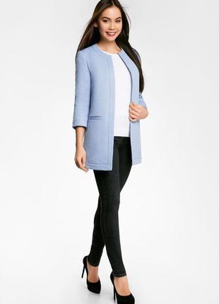 Пальто жіноче блакитне oodji