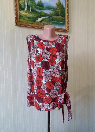 Блуза tu топ  в яркий цветочный принт оригинальный дизайн натуральная ткань вискоза с поясом завязками