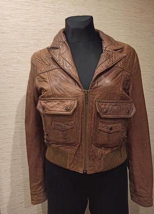 Мягкая натуральная коричневая кожаная куртка для девочки topshop
