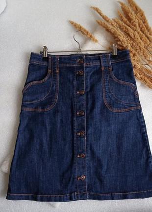 ✨стильна , актуальна джинсова юбка трапеція на гудзиках✨