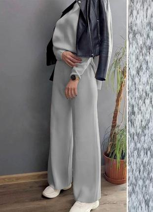 Трендовый брючный костюм из ангоры с широкими штанами-норма и батал
