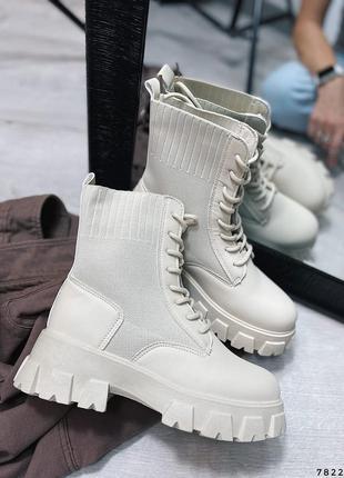 Ботинки женские деми беж 7822 эко-кожа черевики жіночі деми беж еко-шкіра