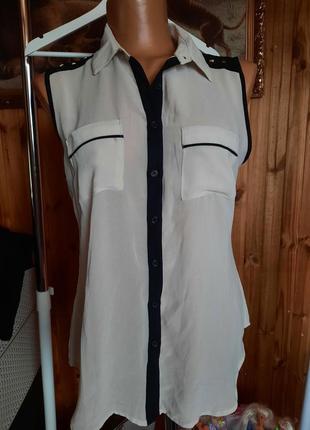 Полупрозрачная блуза без рукавов mango бежевая