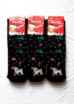 Набор махровые зимних новогодних женских носков иналтун 36-40р.2 пары.турция.