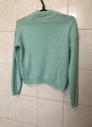 Бирюзовый укороченный  свитер zara zara