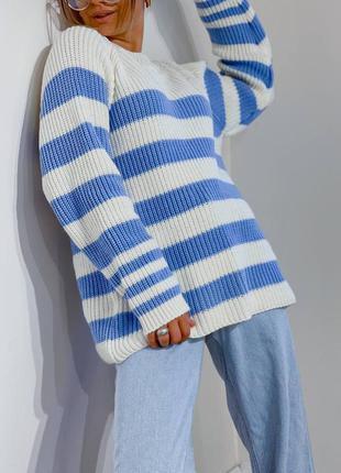 Стильный полосатый свитер джемпер в полоску теплый шерстяной свитер оверсайз в стиле зара