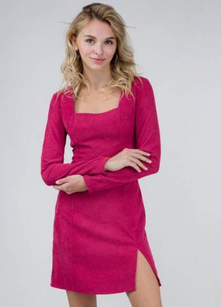 Платье мини с квадратным вырезом, стильное актуальное 2021