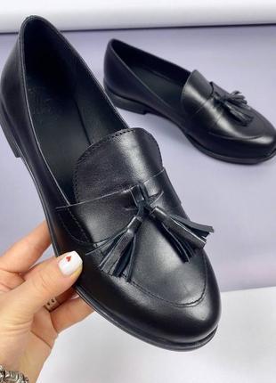 Кожаные женские лоферы, черные лоферы, кожаные женские туфли, лофери 36,37, 39, 40р код 708