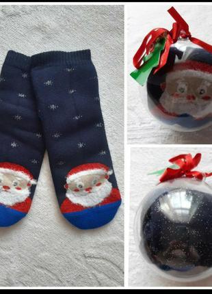 Набор новогодних женских махровых носков в шаре 2 пары 35-38р.турция