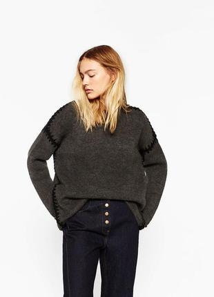 Теплый серый свитер zara zara