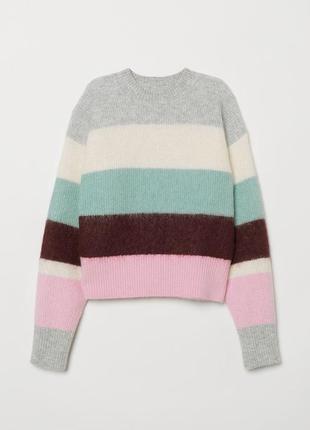 H&m полосатый свитер шерстяной кофта оверсайз мохер вязаный с zara cos arket