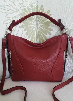 Сумка кожаная бордовая кожа натуральная genuine leather