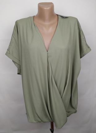 Блуза новая оливковая на запах с кружевом большого размера f&f uk 22/50/4xl